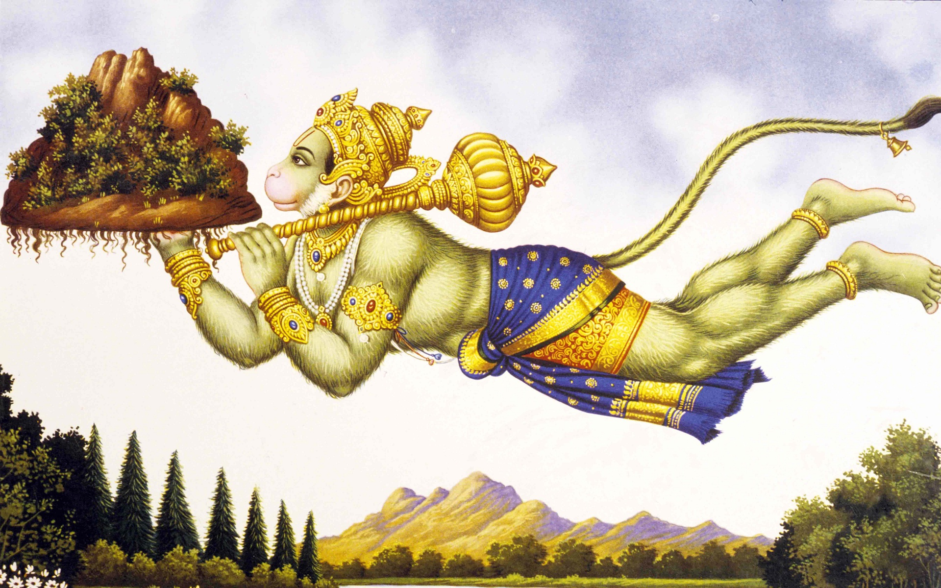 lord-hanuman-mountain-in-hand-flying
