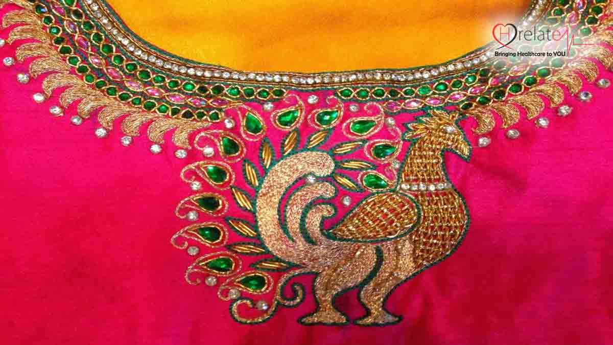 Peacock Design Maggam Work Blouse